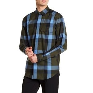Theory plaid long sleeve shirt S